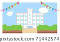 學校建築圖框素材學校背景藍天矢量手繪 71442574