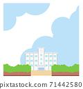 學校建築圖框素材學校背景藍天矢量手繪 71442580