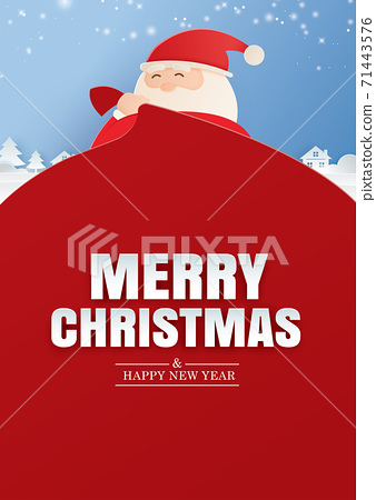 Santa claus and a huge bag of gifts with merry christmas and happy new year greeting card. Use for banner, poster, cover and all media. 71443576
