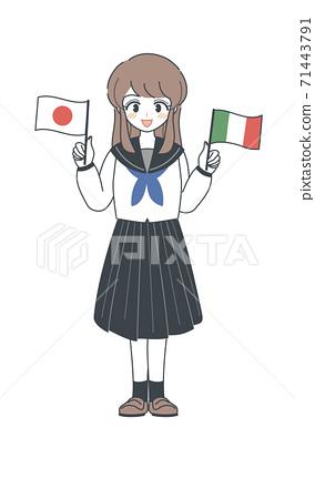 學生/穿著意大利和日本國旗的水手服 71443791