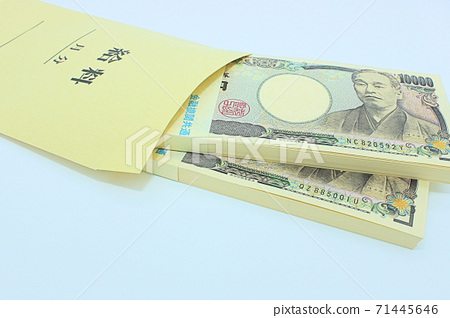 [Thumbnail of articles about salary, income, taxes, etc.] Salary bag and a wad of million yen 71445646