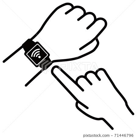 矢量圖的操作智能手錶的Wi-Fi圖標 71446796