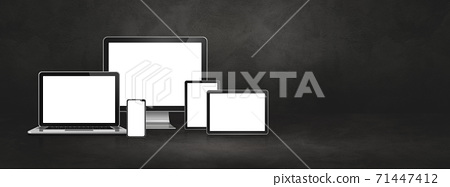 computer, laptop, mobile phone and digital tablet pc. Dark concrete banner 71447412