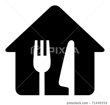 刀和叉,簡單的黑色和白色圖標的房子剪影 71449358