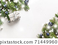 Christmas banner with gift, branches on white .  71449960