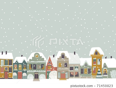 Cute cartoon little town in Christmas time 71450823