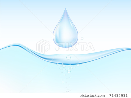 Falling blue water drops on water surface with air bubbles vector illustration 71453951