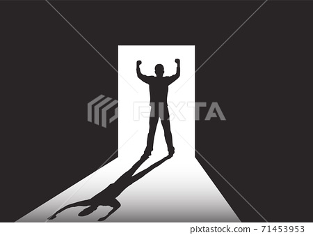 Silhouette of man standing at the door in the dark room with fists raised up facing the light, success, achievement and winning concept vector illustration 71453953