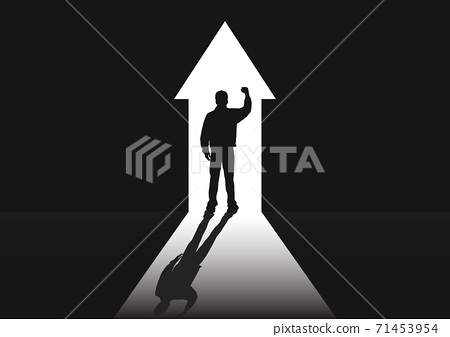 Silhouette of man standing at the door in the dark room with fist raised up facing the light, success, achievement and winning concept vector illustration 71453954