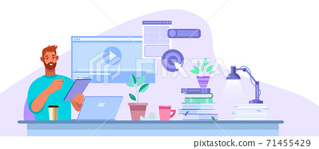 Online education vector illustration with young student studying in internet at home, laptop, desk.  71455429