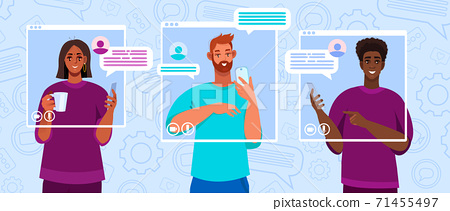 Virtual meeting illustration with diverse freelancers communicating online.  71455497