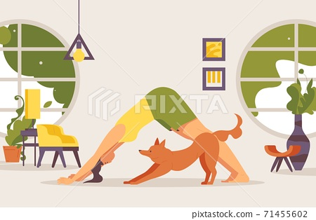 Doga concept illustration. Woman with pet doing training exercises in interior with round windows 71455602