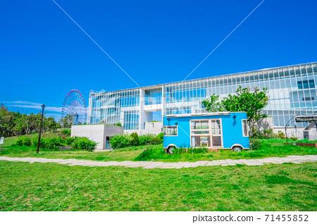 東京葛西海濱公園廣場,摩天輪和淺藍色旅行車 71455852