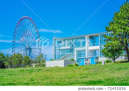 東京葛西海濱公園廣場,摩天輪和淺藍色旅行車 71455856