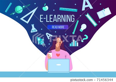 Online education web page concept with female student using laptop, science icons.  71456344