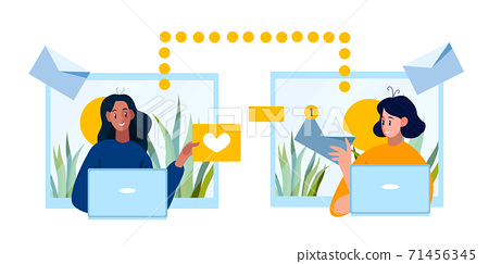 Teamwork vector concept with people working together online.  71456345