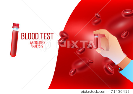 Blood test healthcare vector concept with red cells, doctors hand in glove holding test tube.  71456415