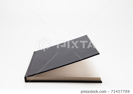 Light open Black blank book isolated on white background  71457789