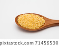 Wooden spoon with millet on white 71459530