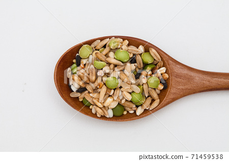 Wooden spoon with Miscellaneous grains  71459538