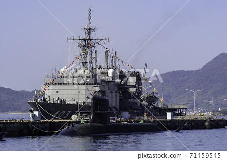 Chihaya-type submarine rescue ship and submarine Kure City, Hiroshima Prefecture 71459545