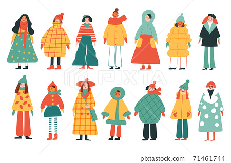 Woman in different clothes in hand drawn style 71461744