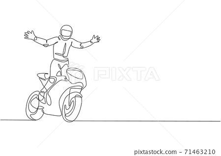 One single line drawing of young moto biker open up his hands to celebrate his winning vector illustration. Superbike racing concept. Modern continuous line draw design for motor racer event banner 71463210
