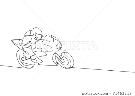 One continuous line drawing of young moto biker practicing to improve bike speed. Super bike racing concept vector illustration. Dynamic single line draw design for motorbike race promotion poster 71463218