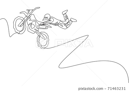 Single continuous line drawing of young motocross rider acrobatic flying with his bike. Extreme sport race concept vector illustration. Trendy one line draw design for motocross event promotion media 71463231