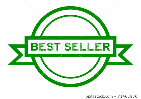 Round vintage label banner in green color with word best seller on white background 71463850