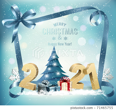 Holiday Background with 2021 and Christmas Tree and gift boxes. Vector 71465755