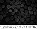 Abstract black background with row of logs texture 71470187