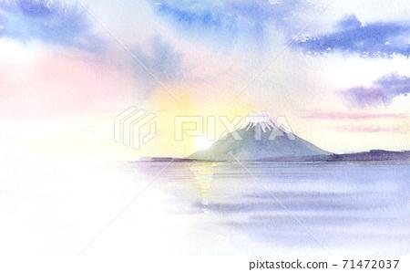 第一次日出富士山透明水彩 71472037