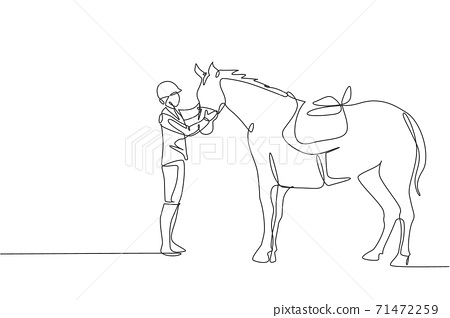Single continuous line drawing of young professional horseback rider talking wit a horse at the stables. Equestrian sport training process concept. Trendy one line draw design vector illustration 71472259