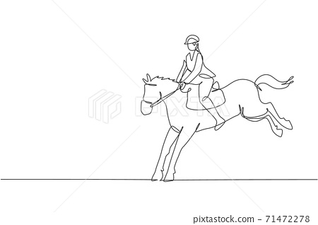 One single line drawing of young horse rider man performing dressage jumping test vector illustration graphic. Equestrian sport show competition concept. Modern continuous line draw design 71472278