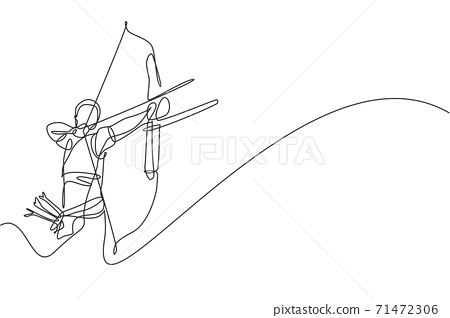 One single line drawing of young archer man focus exercising archery to hit the target vector graphic illustration. Healthy refresh shooting with bow sport concept. Modern continuous line draw design 71472306