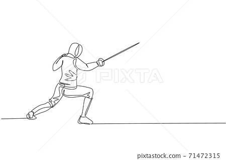 Single continuous line drawing young professional fencer athlete man in fencing mask and rapier. Competitive fighting sport competition concept. Trendy one line draw design vector graphic illustration 71472315