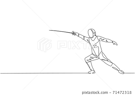 Single continuous line drawing of young professional fencer athlete man in fencing mask and rapier. Competitive fighting sport competition concept. Trendy one line draw design vector illustration 71472318