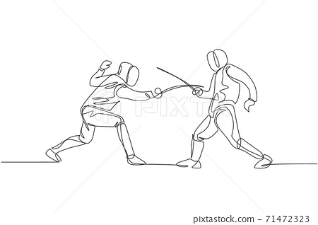 One continuous line drawing of two men fencing athlete practice fighting on professional sport arena. Fencing costume and holding sword concept. Dynamic single line draw design vector illustration 71472323