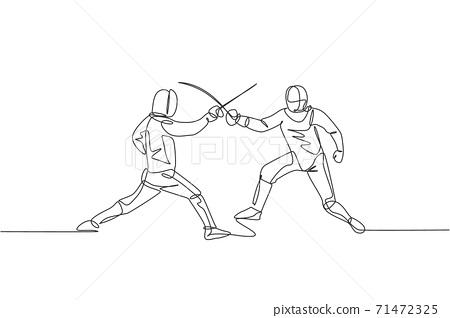 One single line drawing of two men fencer athlete in fencing costume exercising motion on sport arena vector illustration. Combative and fighting sport concept. Modern continuous line draw design 71472325