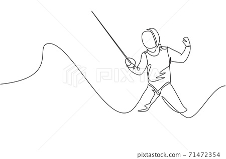 One single line drawing of young man fencer athlete in fencing costume exercising motion on sport arena vector illustration. Combative and fighting sport concept. Modern continuous line draw design 71472354