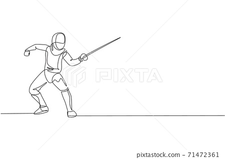Single continuous line drawing of young professional fencer athlete woman in fencing mask and rapier. Competitive fighting sport competition concept. Trendy one line draw design vector illustration 71472361