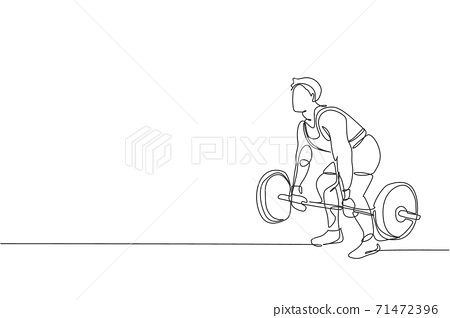 Single continuous line drawing of young strong weightlifter man preparing for barbell workout in gym. Weight lifting training concept. Trendy one line draw design graphic vector illustration 71472396