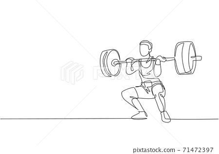 Single continuous line drawing of young strong weightlifter man preparing for barbell workout in gym. Weight lifting training concept. Trendy one line draw graphic design vector illustration 71472397