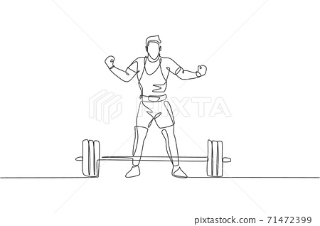 One single line drawing of fit young athlete muscular man lifting barbells working out at a gym vector illustration. Weightlifter preparing for training concept. Modern continuous line draw design 71472399