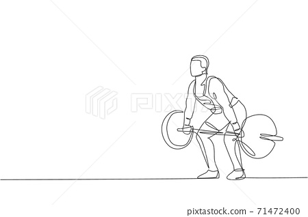 One single line drawing of fit young athlete muscular man lifting barbells working out at a gym vector illustration. Weightlifter preparing for training concept. Modern continuous line draw design 71472400