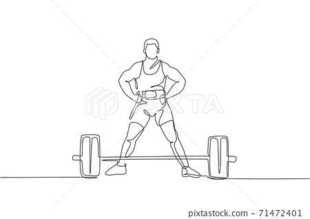 One continuous line drawing of young bodybuilder man doing exercise with a heavy weight bar in gym. Powerlifter train weightlifting concept. Dynamic single line draw design vector illustration graphic 71472401