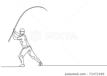 One continuous line drawing of young happy fisherman standing and pull fly fishing on the lake streaming. Fishing leisure hobby vacation concept. Dynamic single line draw design vector illustration 71472490
