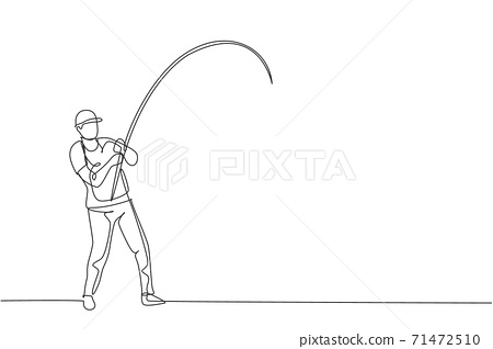 One single line drawing of young happy fisher man standing and flyfishing at the riverside vector graphic illustration. Holiday traveling for fishing hobby concept. Modern continuous line draw design 71472510