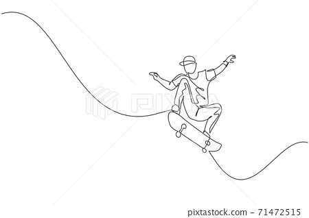 One continuous line drawing of young cool skateboarder man riding skateboard and doing a jump trick in skatepark. Extreme teenager sport concept. Dynamic single line draw design vector illustration 71472515